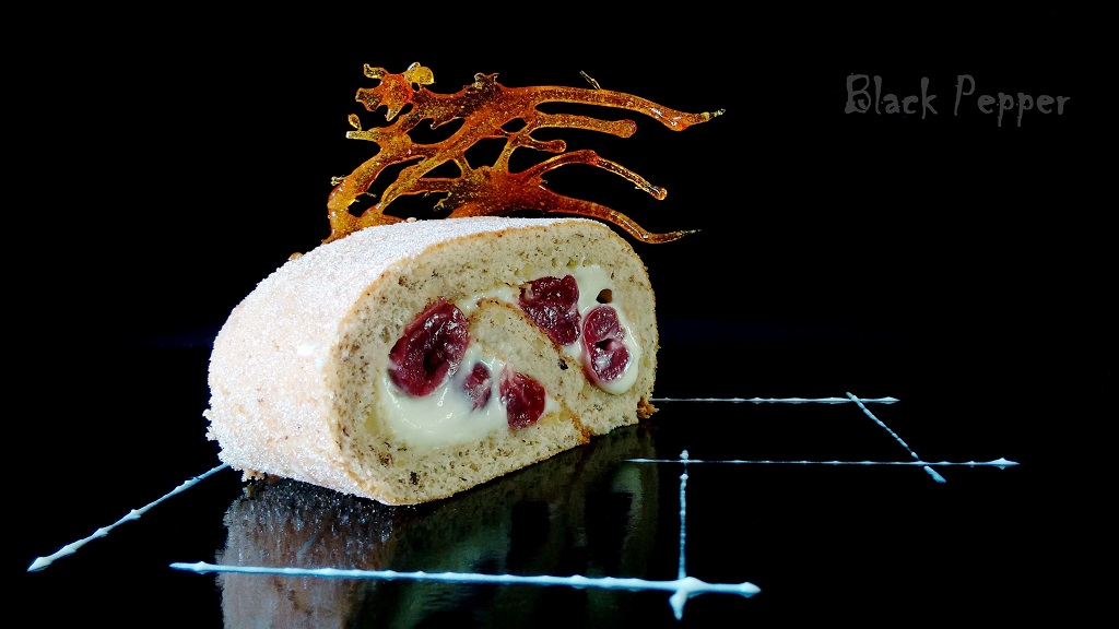 Walnut Cherry Cake Roll