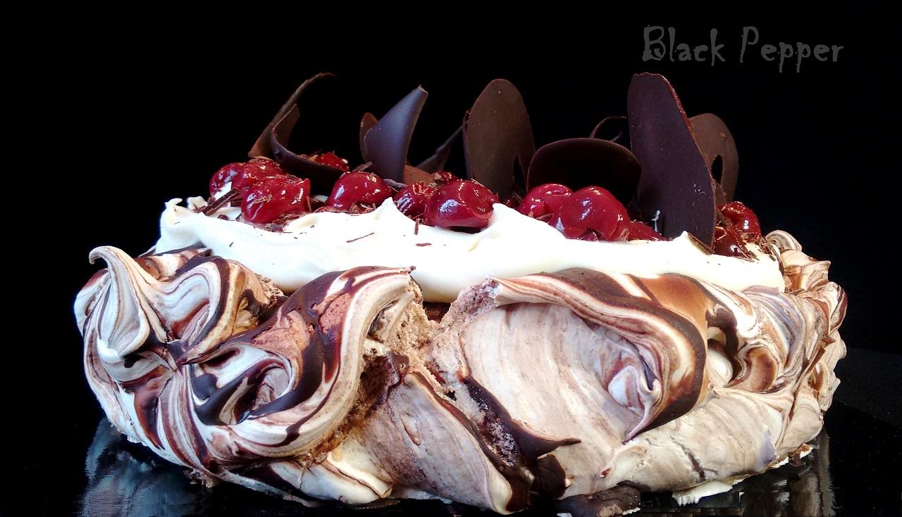 Cherry Pavlova Cake with Chocolate