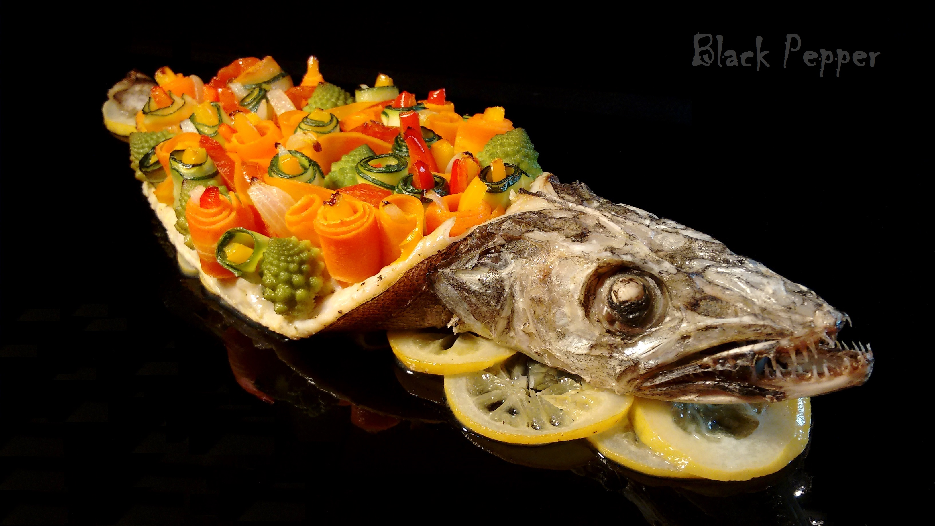 Baked Hake with Vegetable Garnish