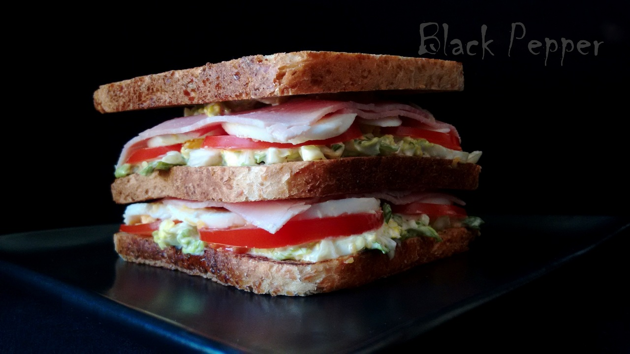 Sandwich with Eggs and Ham