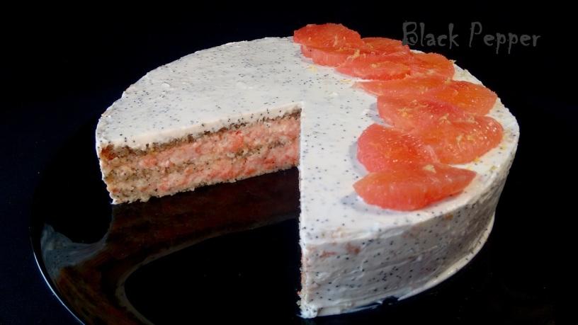 Бисквитный торт с муссом из грейпфрута
