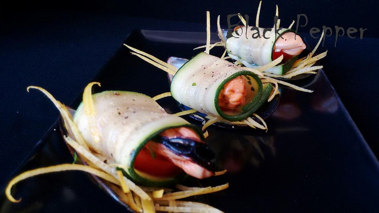Mussels Stuffed Zucchini