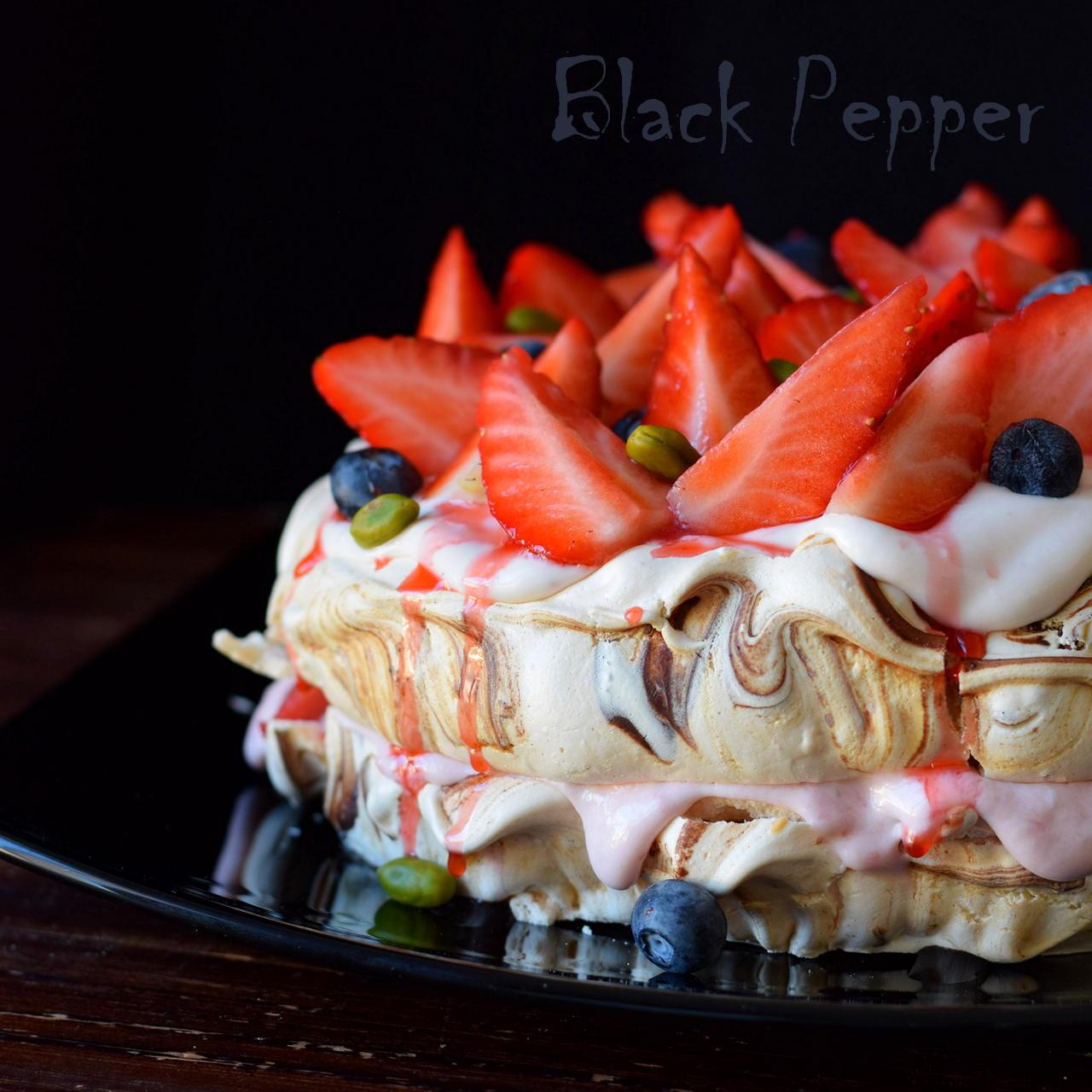 Strawberry Meringue Pavlova Cake