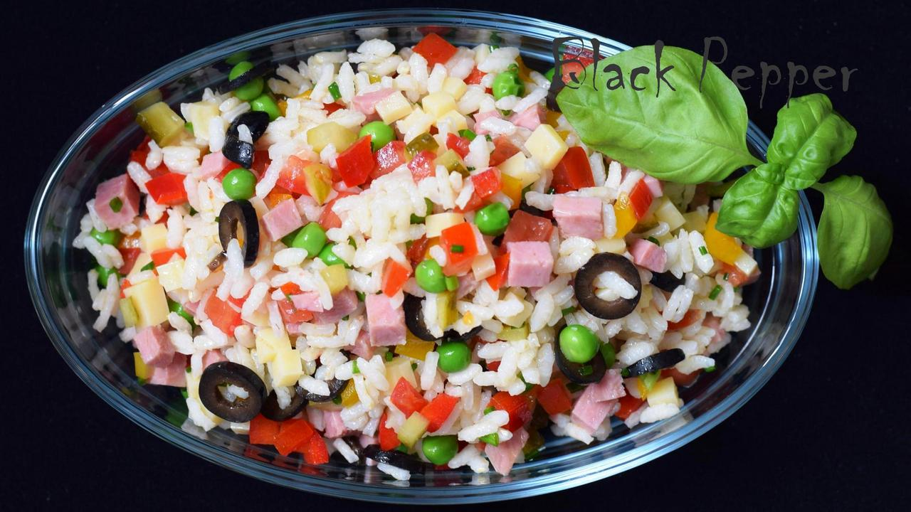 Italian Rise Salad with Peas, Ham and Vegetables