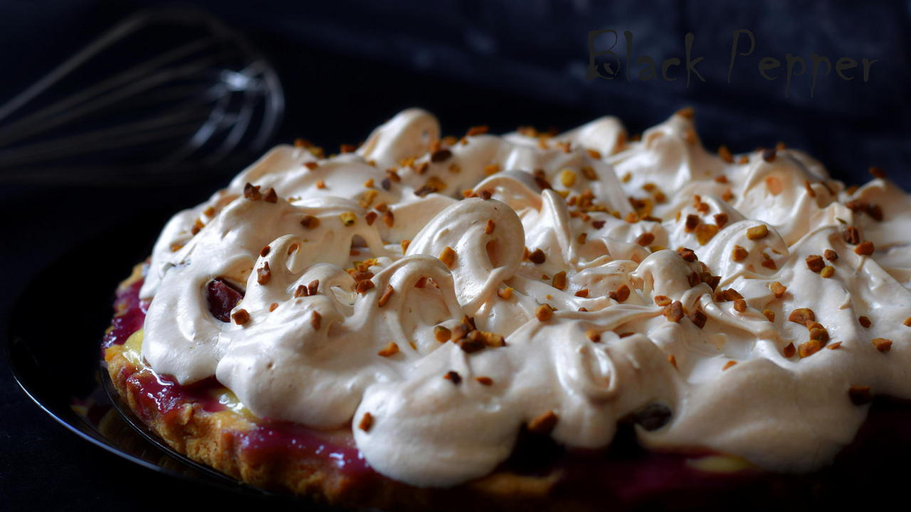 Plum Tart with Custard and Meringue