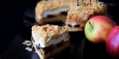 Яблочный пирог с безе и черносливом