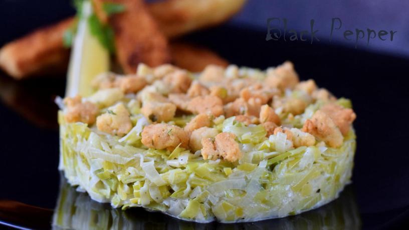 Гарнир из лука-порея со сливками