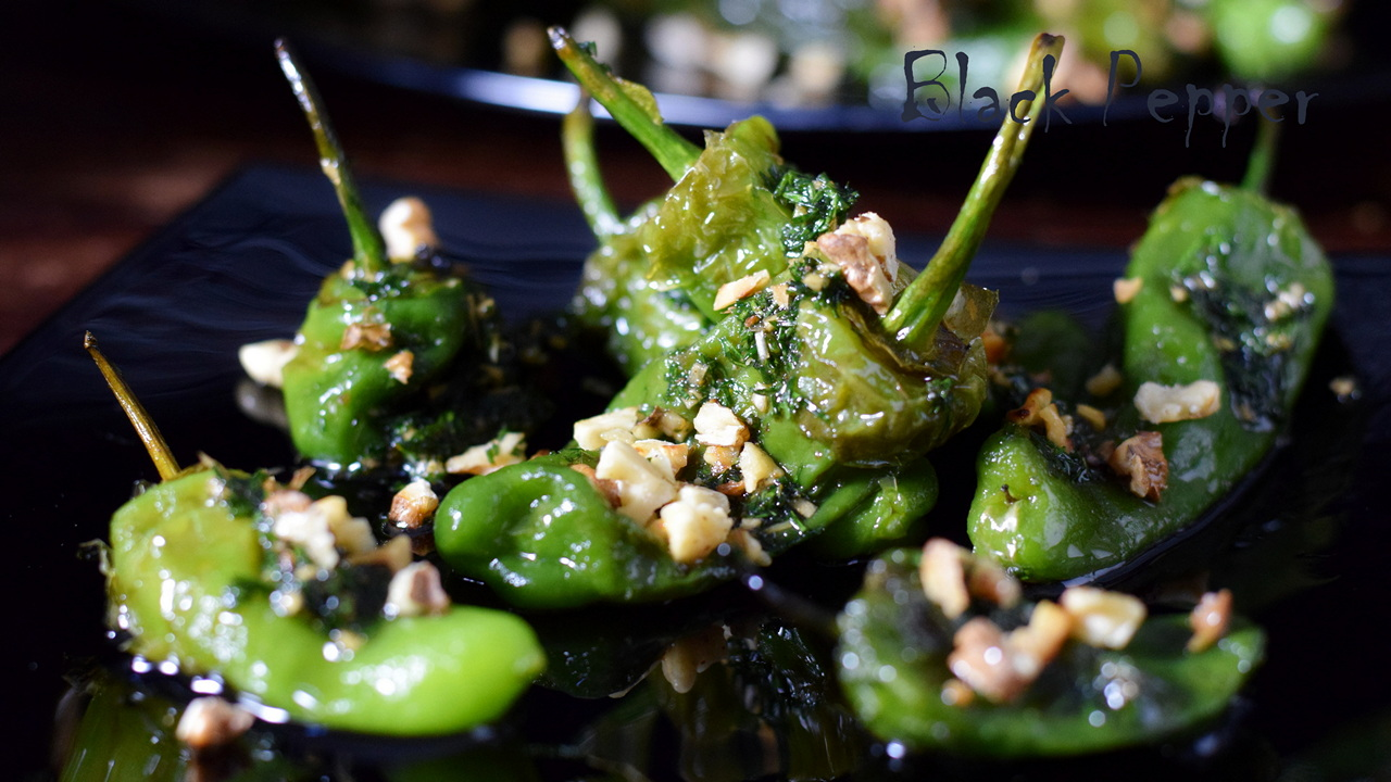 Padron Peppers with Nuts and Balsamic Vinegar